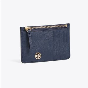 Tory Burch Navy Robinson Slim Card Case Wallet